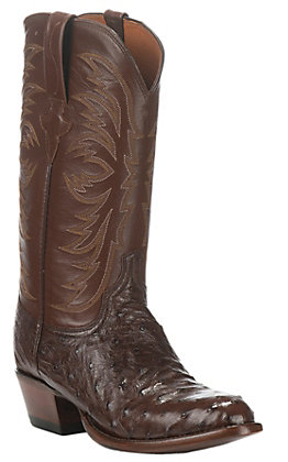 Lucchese Men's Brown & Sienna Full Quill Round Toe Exotic Western Boots