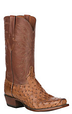 Lucchese Men's Barnwood Burnish and Tan Ostrich Pin Punchy Toe Exotic Punchy Toe Boots