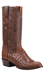 Lucchese Men's Barnwood with Tan Brown Upper Full Quill Ostrich Exotic Round Toe Boots