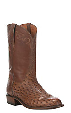Lucchese Men's Barn Wood Full Quill Ostrich Exotic Roper Boots