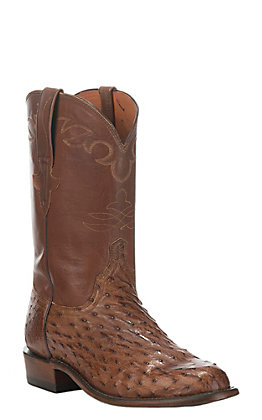 Lucchese Men's Tan Burnish Full Quill Ostrich Exotic Roper Boots