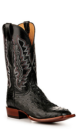 Lucchese Men's Black Full Quill Ostrich Wide Square Toe Exotic Western Boots
