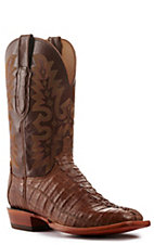 Lucchese Men's Antique Brown with Tan Brown Caiman Tail Wide Square Toe Exotic Boots