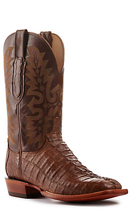 Lucchese Men's Tan Burnish Hornback Tail Wide Square Toe Exotic Boots