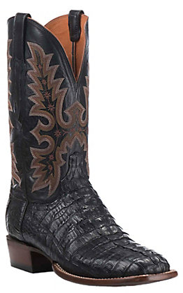 Lucchese Men's Black Hornback Tail Wide Square Toe Exotic Western Boots
