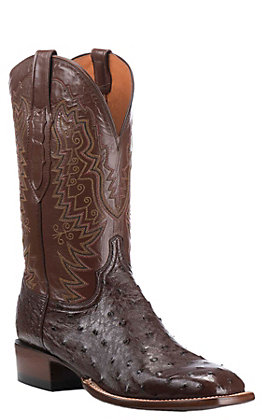 Lucchese Men's Sienna Full Quill Ostrich Exotic Square Toe Boots