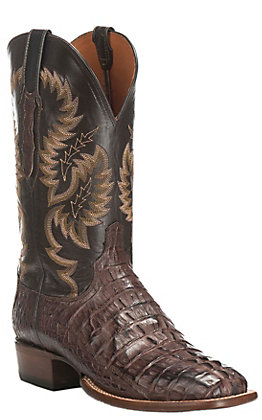Lucchese Men's Barrel Brown with Chocolate Foot Caiman Tail Exotic Square Toe Boots