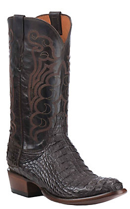 Lucchese Men's Chocolate and Barrel Brown Hornback Caiman R-Toe Exotic Western Boots