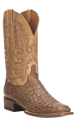 Lucchese Men's Tan Burnish Hornback Caiman Square Toe Exotic Western Boots