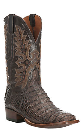 Lucchese Men's Barrel Brown Burnish Hornback Caiman Wide Square Toe Exotic Boots