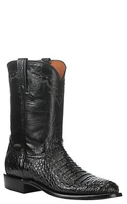 Lucchese Men's Black Hornback Caiman Exotic Roper Boots
