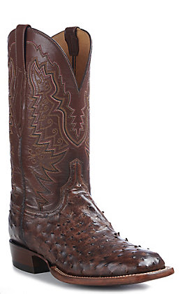 Lucchese Men's Antique Tobacco Full Quill Ostrich with Brown Boise Goat Roper Toe Exotic Western Boot