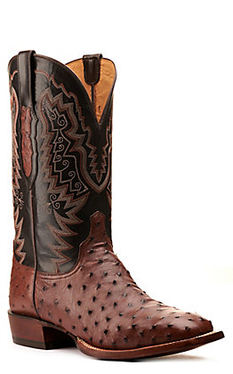 Lucchese Men's Kango Tabacco and Brown Full Quill Ostrich Wide Square Toe Exotic Western Boots