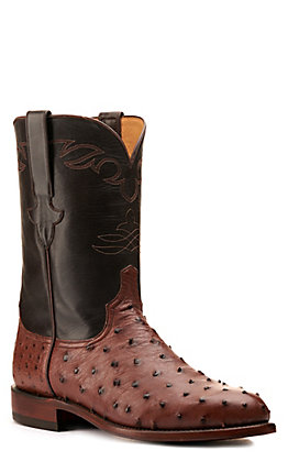 Lucchese Men's Kango Tobacco and Brown Full Quill Ostrich Round Toe Exotic Western Boots