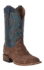 Lucchese 1883 Malcolm Men's Distressed Brandy Giant Alligator with Navy Cowhide Exotic Square Toe Boots