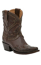 Lucchese 1883 Women's Brown Floral Tooled with Studs & 8in Top Snip Toe Western Boots