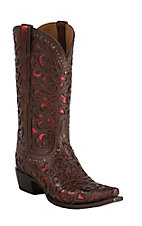 Lucchese 1883 Mahogany Laser with Red Metallic Inlay Snip Toe Western Boots