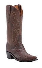 Lucchese 1883 Sienna Brown Full Quill Ostrich Snip Toe Western Boots