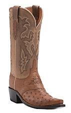 Lucchese 1883 Women's Tan Full Quill Ostrich Snip Toe Western Boots