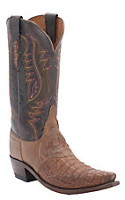 Lucchese 1883 Tan Mad Dog Hornback Caiman Alligator Snip Toe Western Boots