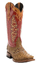 Lucchese 1883 Red Collection Women's Tan Maddog Full Quill w/Red Top Exotic Western Square Toe Boots