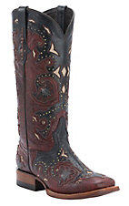 Lucchese 1883 Ladies Red Mad Dog w/Black Overlay Double Welt Square Toe Western Boots
