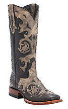 Lucchese 1883 Ladies Chocolate w/Tan Mad Dog Overlay Double Welt Square Toe Western Boots