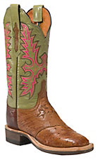 XANLucchese Cowgirl Ladies Brown Full Quill Ostrich w/Green Top Crepe Square Toe Boot