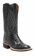Lucchese1883 Men's Black Crocodile Tail Square Toe Crepe Exotic Boot