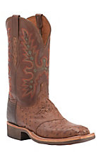 Lucchese Mens Barnwood Full Quill Ostrich w/ Tan Ranch Hand Top Square Toe Crepe Sole Western Boot