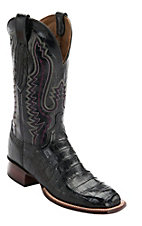 Lucchese Cowboy Collection Men's Black Pieced Croc Belly Exotic Square Toe Boots