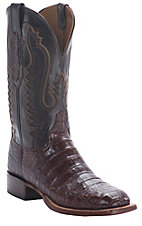 Lucchese Cowboy Collection Men's Sienna Brown Pieced Croc Belly Exotic Square Toe Boots