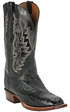 Lucchese Cowboy Collection Mens Black Full Quill Ostrich Exotic Square Toe Boots