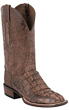 Lucchese Cowboy Collection Men's Barnwood Burnish Hornback Caiman Tail Exotic Square Toe Boots