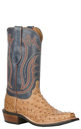 Lucchese Men's Tan Burnish and Navy Ostrich Exotic Punchy Toe Boots