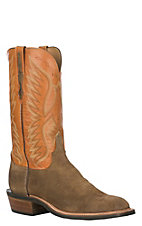 Lucchese Men's Olive Burnish and Caramel Western Square Toe Boots
