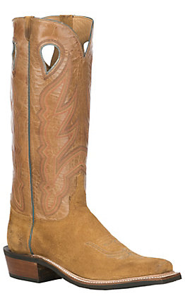 Lucchese Men's Sand and Chocolate Taupe Tan Suede Western Square Toe Boots