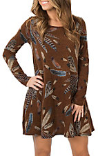 Women's Brown Long Sleeve Feather Print Dress