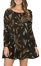 James C Women's Olive Feather Print Dress