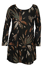 James C Women's Black Feather Print Dress - Plus Size