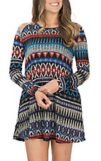 James C Women's Blue Aztec Print Long Sleeve Dress