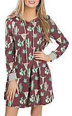 Lovely J Women's Burgundy Skull and Cactus Print Dress