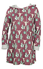 Lovely J Women's Burgundy Skull Cactus Print Dress - Plus Size