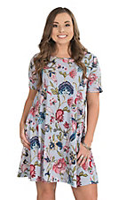 Women's Blue Bird and Floral Dress