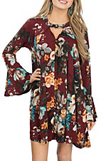 James C Women's Burgundy Floral Long Sleeve Dress
