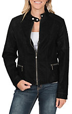 Fornia Women's Black Faux Leather Motorcycle Jacket