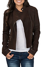 Fornia Women's Brown Faux Leather Motorcycle Jacket