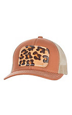 McIntire Saddlery Burnt Orange and Leopard Tooled Leather Cap