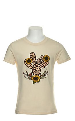 Jazzy Belle Girl's Cream Leopard Print Cactus Short Sleeve T-Shirt