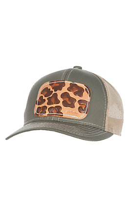 McIntire Saddlery Olive and Leopard Tooled Leather Cap